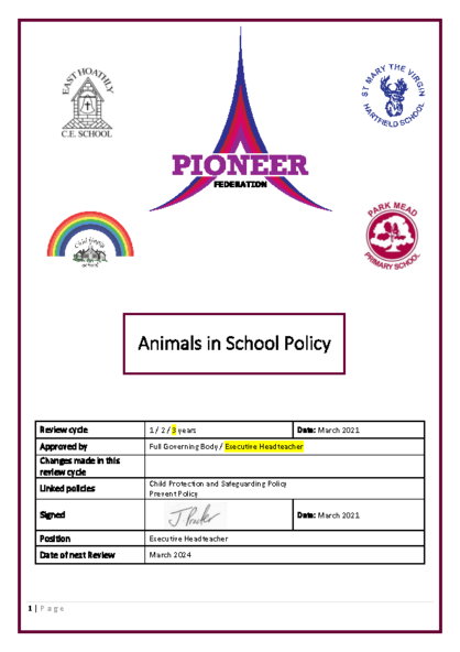 Animals in school Policy