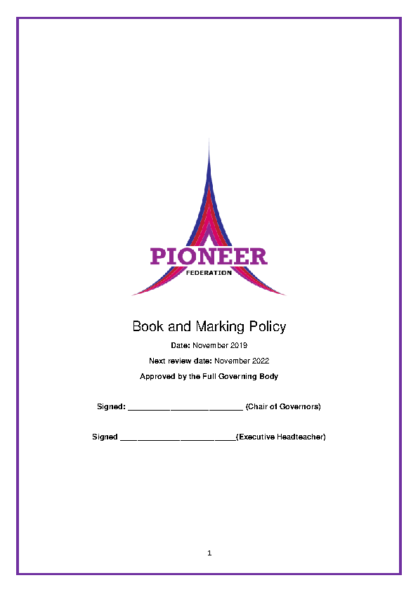 Book & Marking Policy