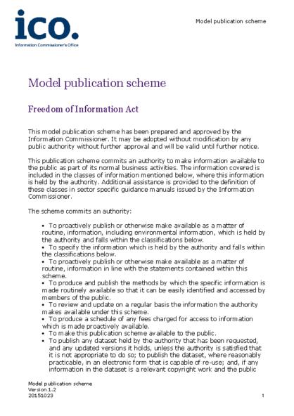 Freedom of Information – Publication Scheme