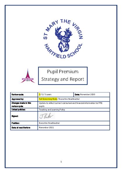 Pupil Premium Strategy & Report