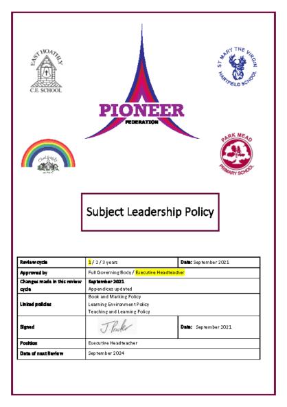 Subject Leadership Policy