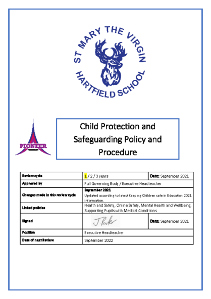 Child Protection & Safeguarding Policy & Procedure