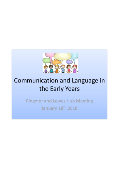 Communication and Language in the Early Years